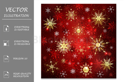 Golden Snowflakes on Red Background