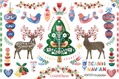 Watercolor  Christmas Scandinavian