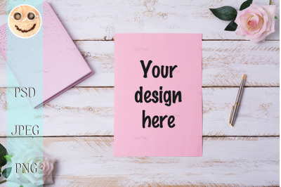 Blank paper sheet mockup with roses.