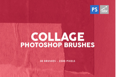 30 Paper Collage Photoshop Stamp Brushes Vol. 1