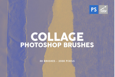 30 Paper Collage Photoshop Stamp Brushes Vol.2