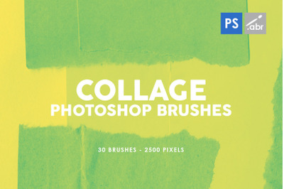 30 Paper Collage Photoshop Stamp Brushes Vol. 3