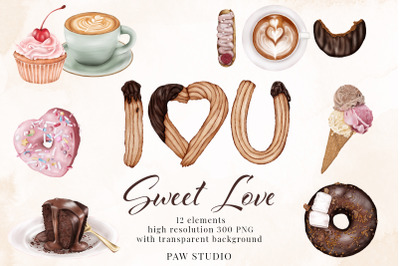 Sweets I Love You Donut Ice Cream Cake Coffee Clipart Valentines Day