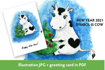 Cow decorating Christmas tree. New year 2021 symbol