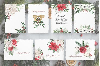 7 Christmas Floral Card Templates