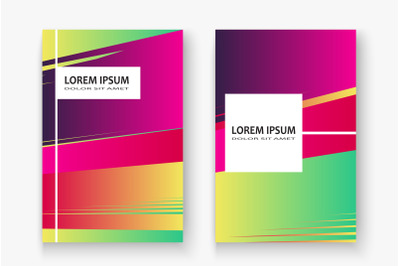 Artistic cover set design vector illustration. Neon blurred red yellow