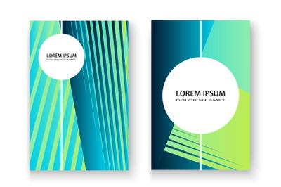 Artistic cover set design vector illustration. Neon blurred blue cyan