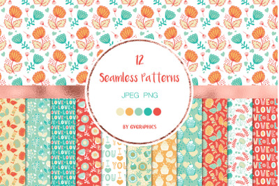 12 Love, Muffins and Flowers Seamless Patterns