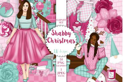 Christmas Clipart, Girly Christmas Illustrations, Holiday Fashion Girl