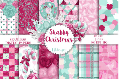 Christmas Digital Papers, Holiday Seamless Patterns, Winter Background