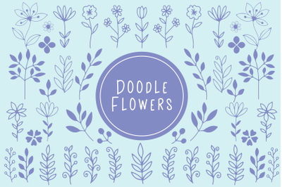 Doodle Flowers, Stems And Branches