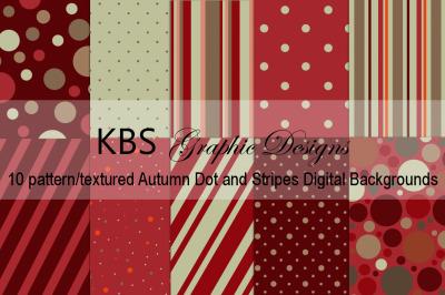 Autumn Dots & Stripes Digital Backgrounds
