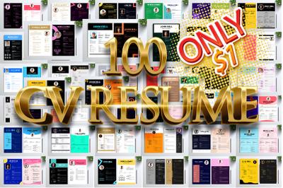 EXTRA BUNDLES 100 CV RESUME PROFESSIONAL ELEGANT
