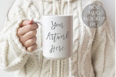 15oz mug mockup - woman holding mug