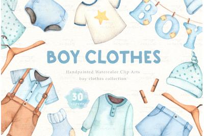 Boy Clothes Watercolor Clip Arts