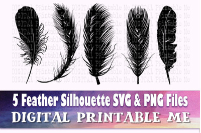 Feather Silhouette SVG Bundle, 5 Realistic PNG, bird quill, Clip Art P