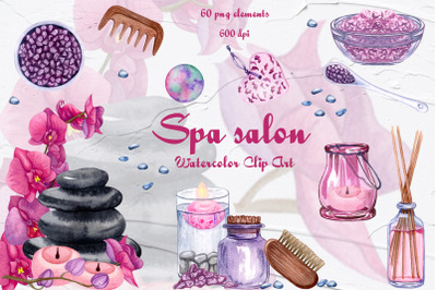 Spa Objects Watercolor Clipart