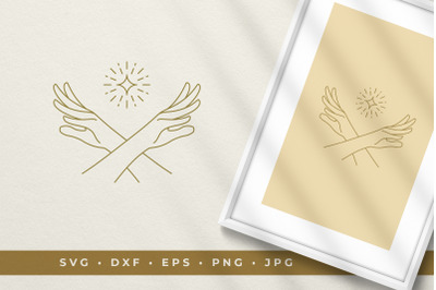 Crossed hands with a star line art graphic style vector illustration p