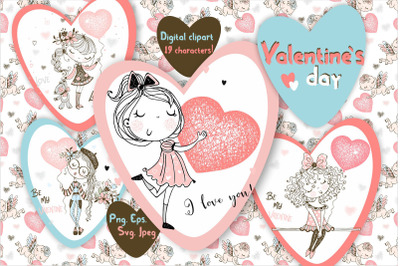 Funny Valentine card, Valentines digital clipart, Cute girls