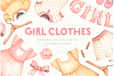 Girl Clothes Watercolor Clip Arts