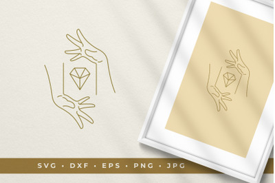 Crossed hands with diamond line art graphic style vector illustration