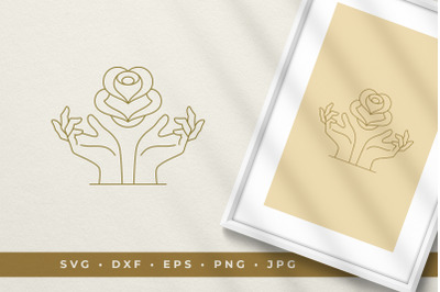 Female hands with flower bud line art graphic style vector illustratio