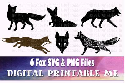 Fox silhouette SVG bundle, PNG, clip art, 6 Digital cut file, Fox, des