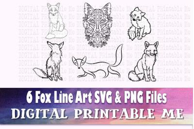 Fox SVG bundle, PNG, clip art, 6 Digital cut file, Fox, line art, dese