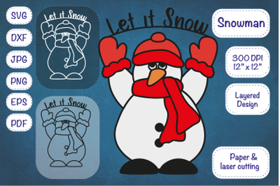 Snowman SVG Snowman Clipart Cut file Layered Design.