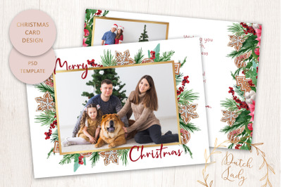 PSD Christmas Photo Card Template - Double Sided - #1