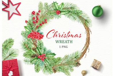 Christmas Wreath watercolor clipart. Xmas frame clip art. New Year