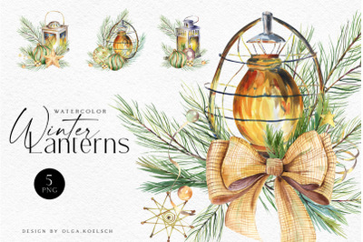Watercolor winter lantern clipart, design elements for christmas cards