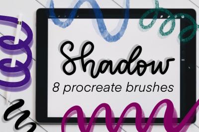 Shadow brush set for Procreate with 8 brushes.