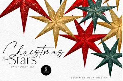 Watercolor Christmas stars, Gold, green, red Christmas decor digital