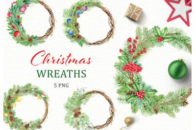 Christmas Wreaths watercolor clipart. Xmas clip art. New Year
