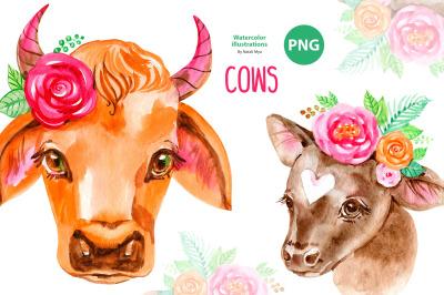 Cute floral cows clipart