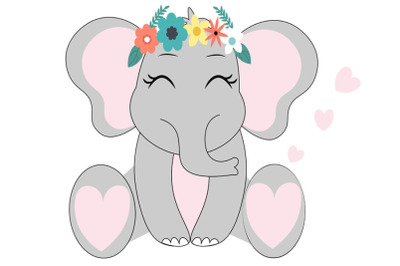 Elephant SVG set, girl elephant svg, Cute Elephant SVG Cut Files, Elep
