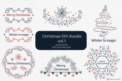 Christmas Wreath SVG Bundle, Winter graphics SVG vol.1