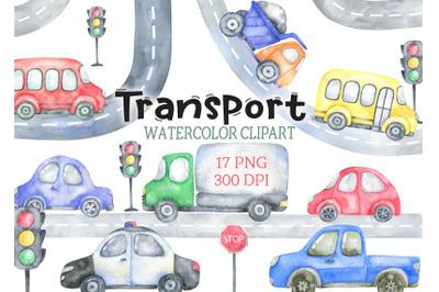 Watercolor  transport clipart car bus clip art png baby shower image