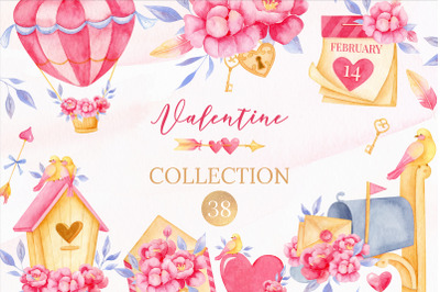 Valentine's day clipart, Bird clipart, Watercolor Valentine clipart