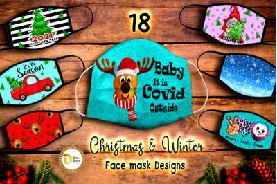 Christmas & Winter Face mask Sublimation Designs