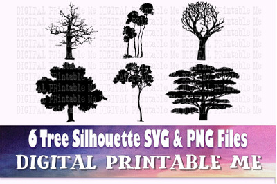 Tree Silhouette, Forest SVG bundle, PNG,  Clip Art Pack, 6 cut file pa