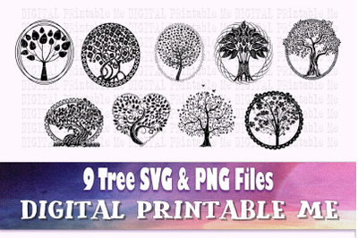 Tree of life Silhouette, Forest SVG bundle, PNG,  Clip Art Pack, 9 cut