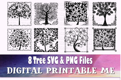 Tree of life Silhouette, Forest SVG bundle, PNG,  Clip Art Pack, 8 cut