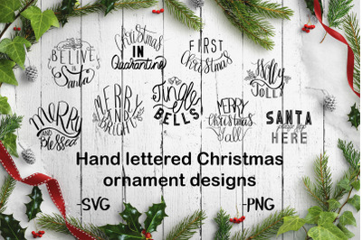 Hand lettered Christmas ornament designs