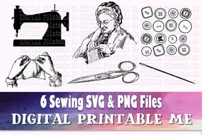 Sewing SVG bundle, PNG, Seamstress Clip Art Pack, 6 cut files, Instant