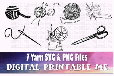 Knitting SVG bundle, silhouette PNG, ball of yarn Clip Art Pack, 7 cut