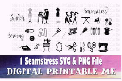 Sewing SVG bundle, PNG, Seamstress Clip Art Pack, 1 cut file, Instant