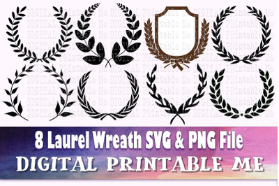 Laurel Wreath svg, silhouette bundle, 8, round border, circle, leaves,