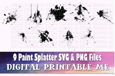 Paint Splatter Silhouette, SVG bundle 2, PNG, Clip Art Pack , 9 Images